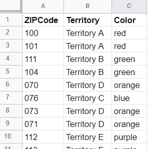 Color-code ZIP Codes from spreadsheet example