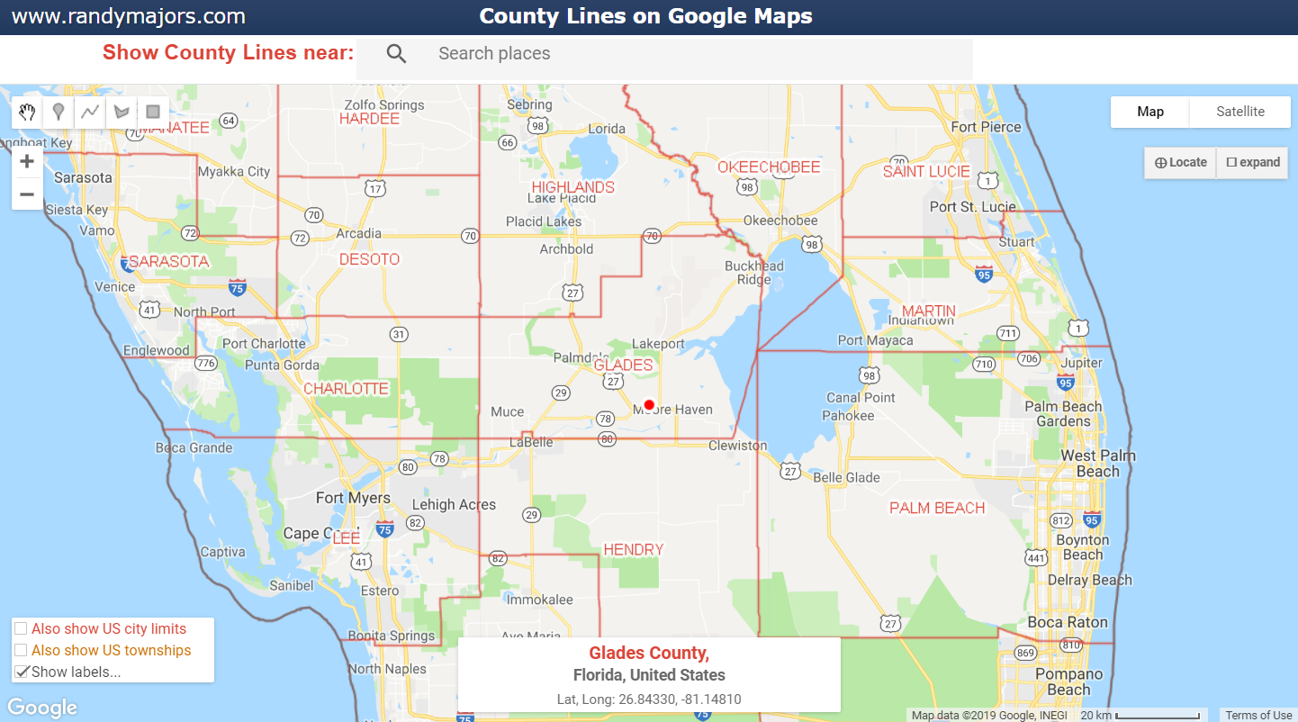 Ability to show labels of County Names and ZIP Codes on Google Maps with County Lines and Google Maps with ZIP Codes tools