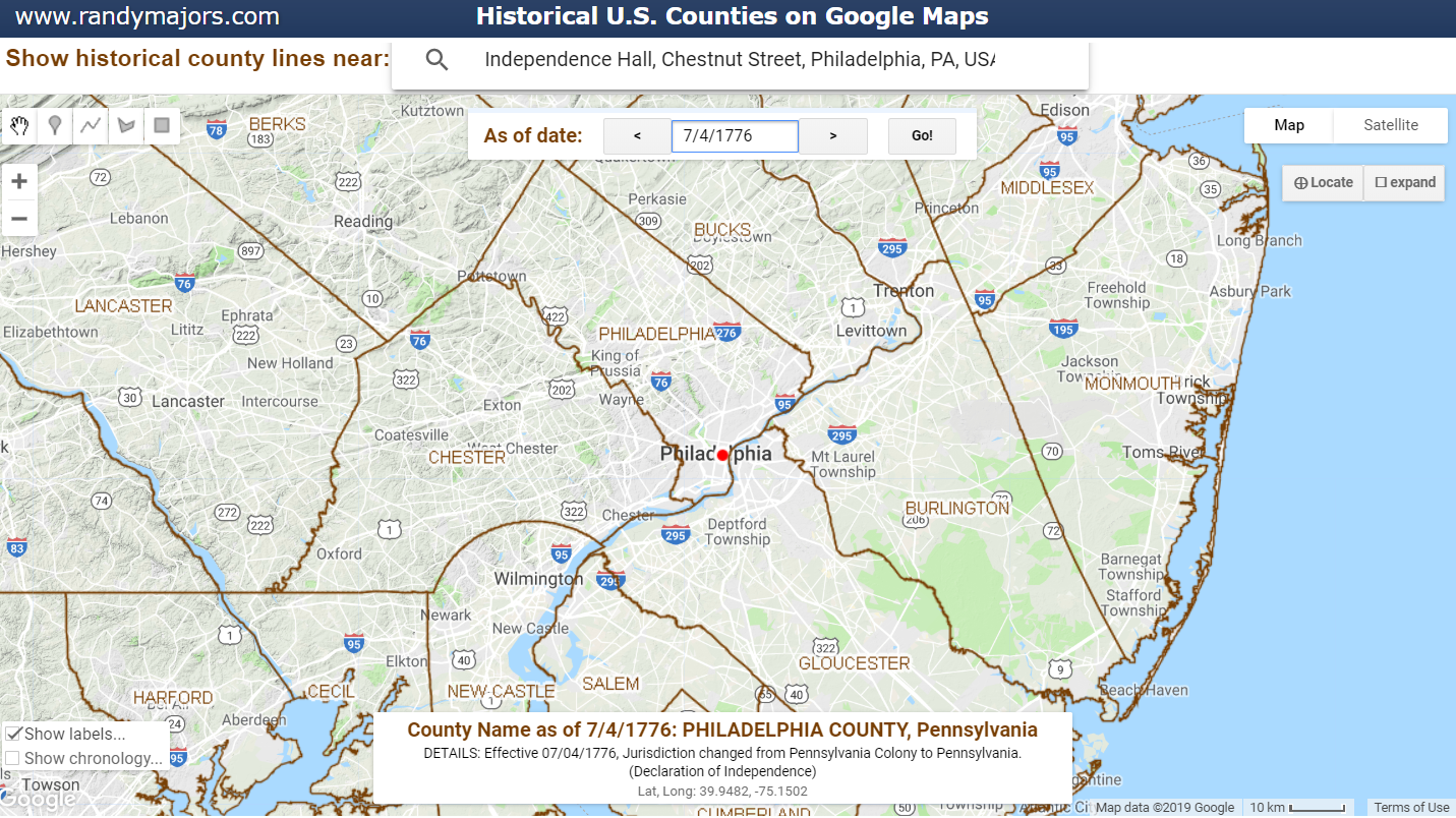 Historical U.S. Counties on Google Maps showing Philadelphia on 4 July 1776 including details from the Newberry Atlas