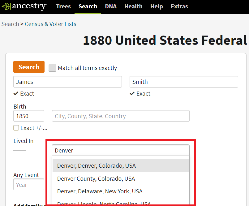 Searching in Denver County for James Smith b1850 in 1880 US Census on Ancestry