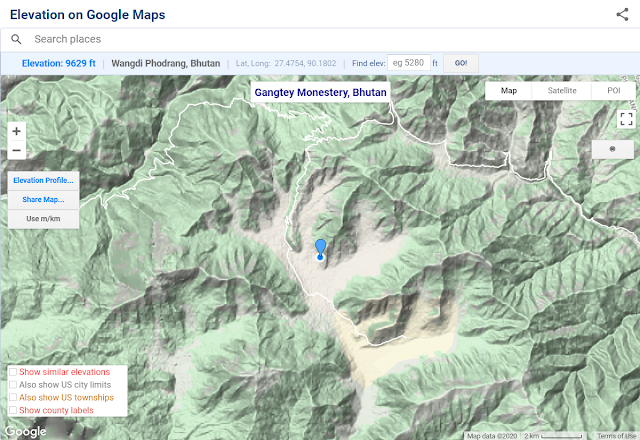 Share Map button on Elevation on Google Maps tool