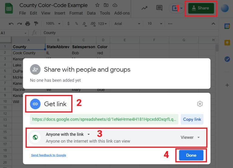 Steps for Sharing Google Sheets